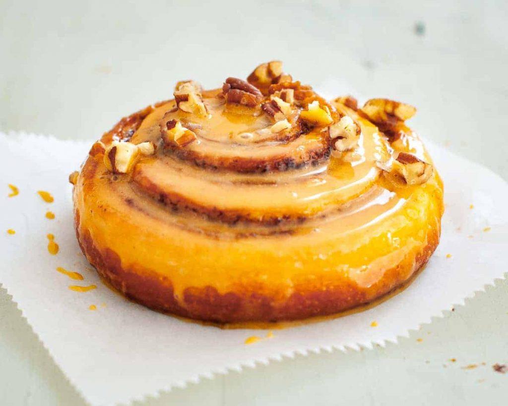 caramel glazed cinnamon swirls with pecans