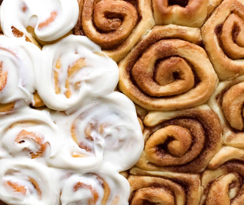 frosted vegan cinnamon rolls