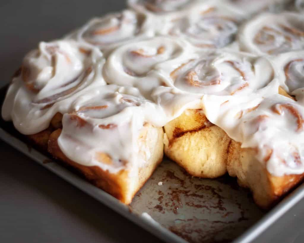 """Cinnamon Rolls with Maple """"Cream Cheese"""" Frosting"""