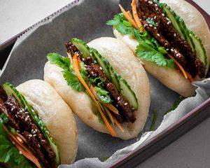 three vegan char siu bao