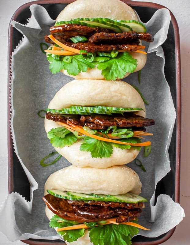 vegan char siu bao in a row