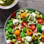 tomato salad with vegan mozzarella balls