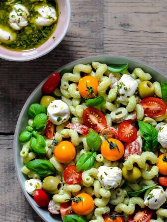 tomato salad with vegan mozzarella balls