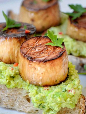 vegan scallops on toast