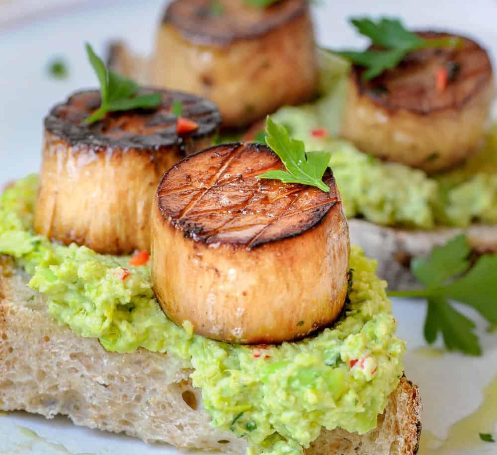 vegan scallops on toast