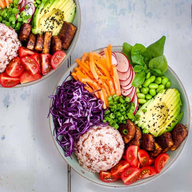 vegan rice bowl with hoi sin tempeh