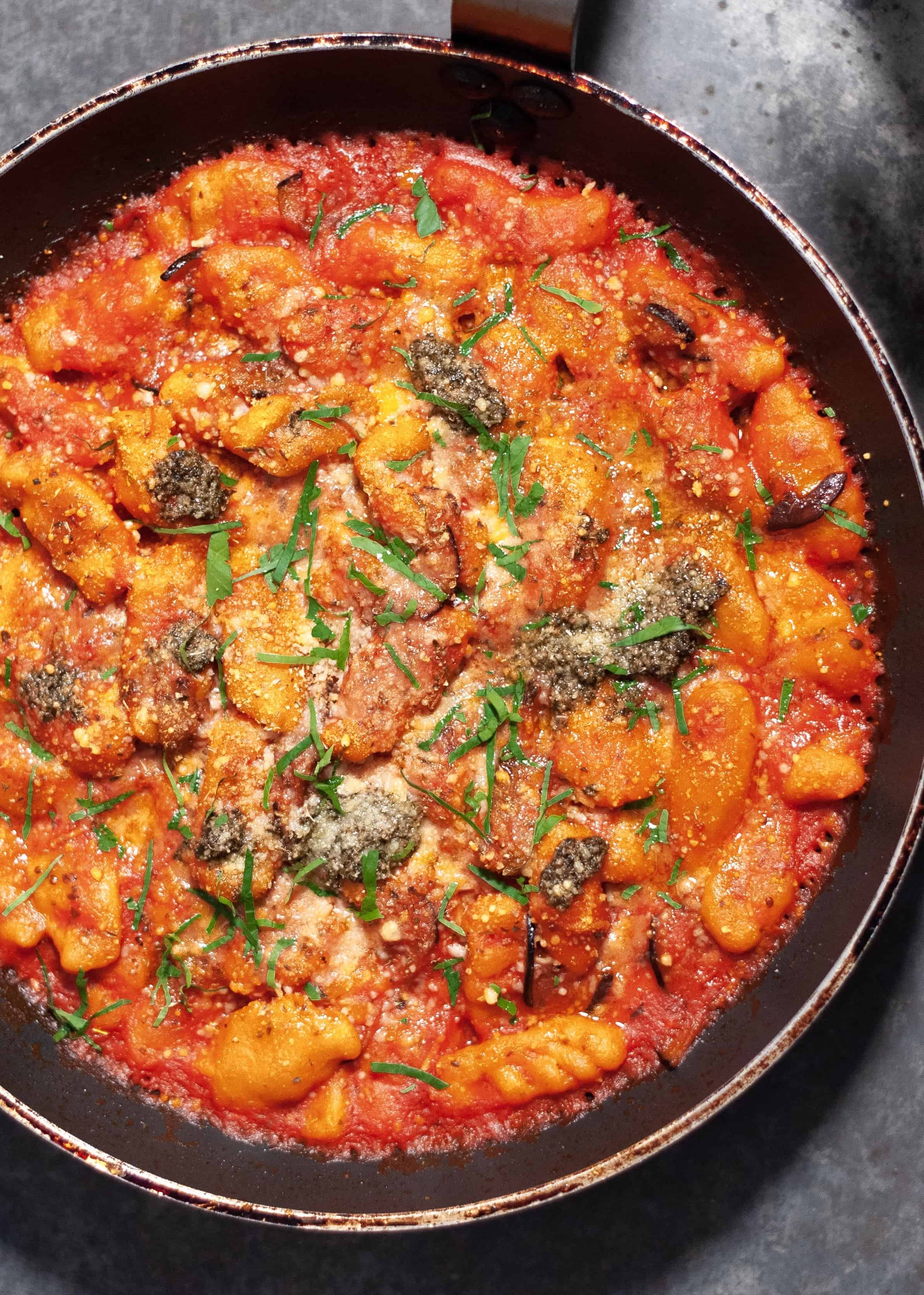 Sweet Potato Gnocchi with Aubergine Parm Sauce