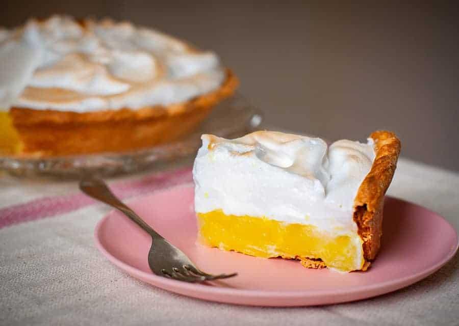 vegan lemon meringue pie slice