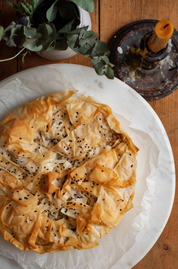 spiced squash filo pie