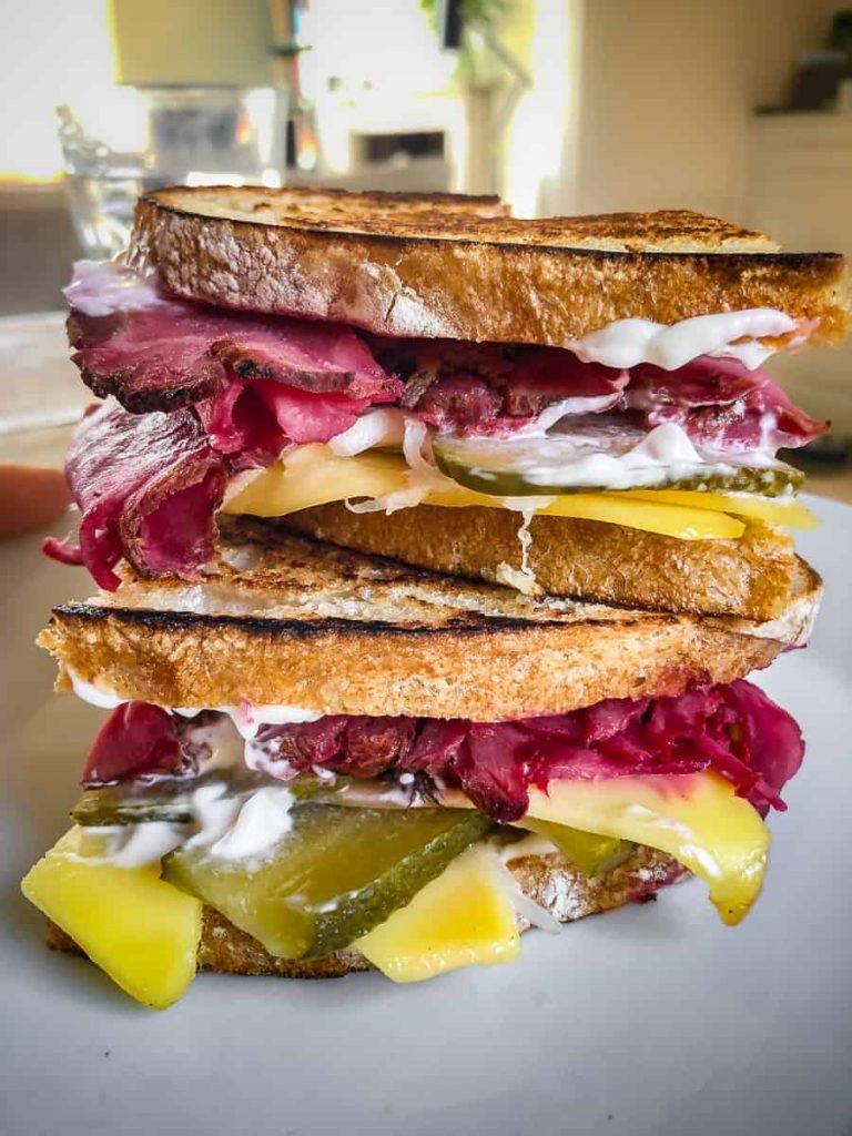 vegan reuben sandwich with pastrami slices