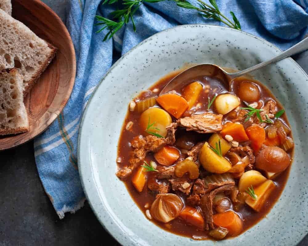 vegan beef stew with barley lobscouse
