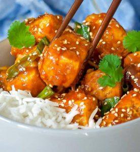 school night vegan sticky sriracha tofu