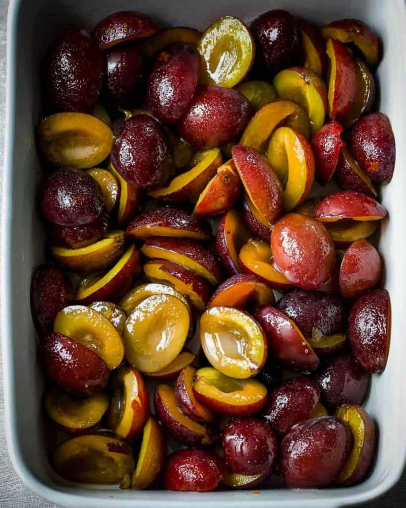 damson plums ready to bake
