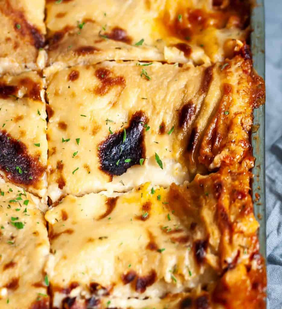 vegan lasagna sliced