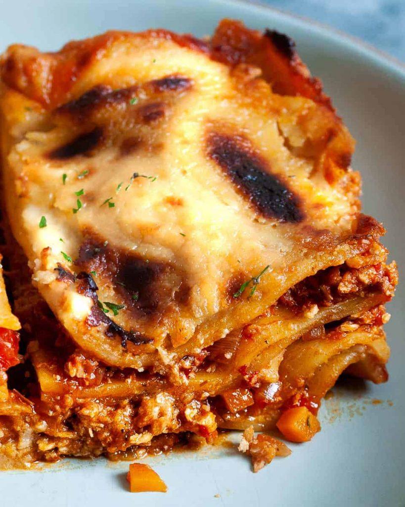 vegan lasagna portion