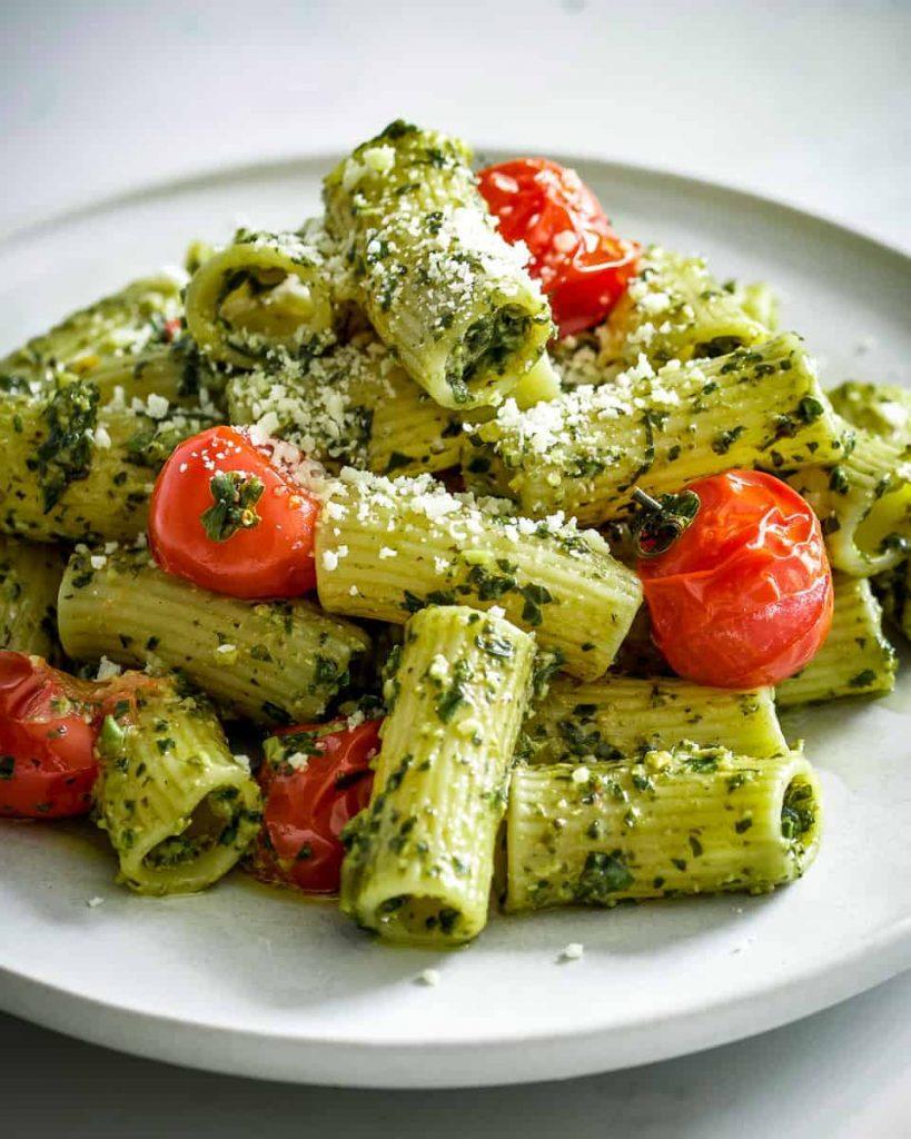 vegan rigatoni and pesto pasta