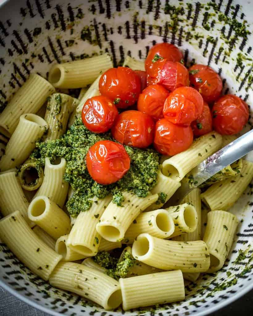 pasta and pesto ready to toss