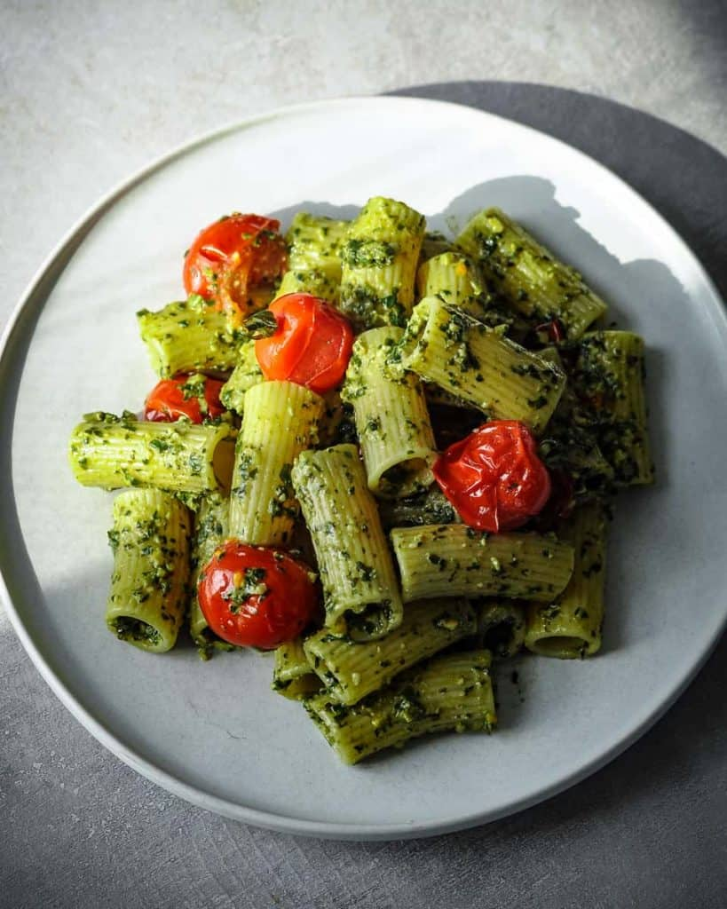 vegan pesto recipe with rigatoni