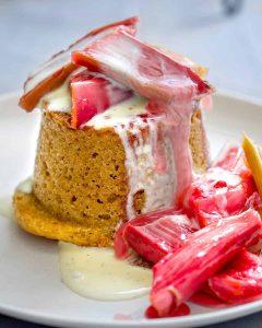 vegan ginger cake and roasted rhubarb