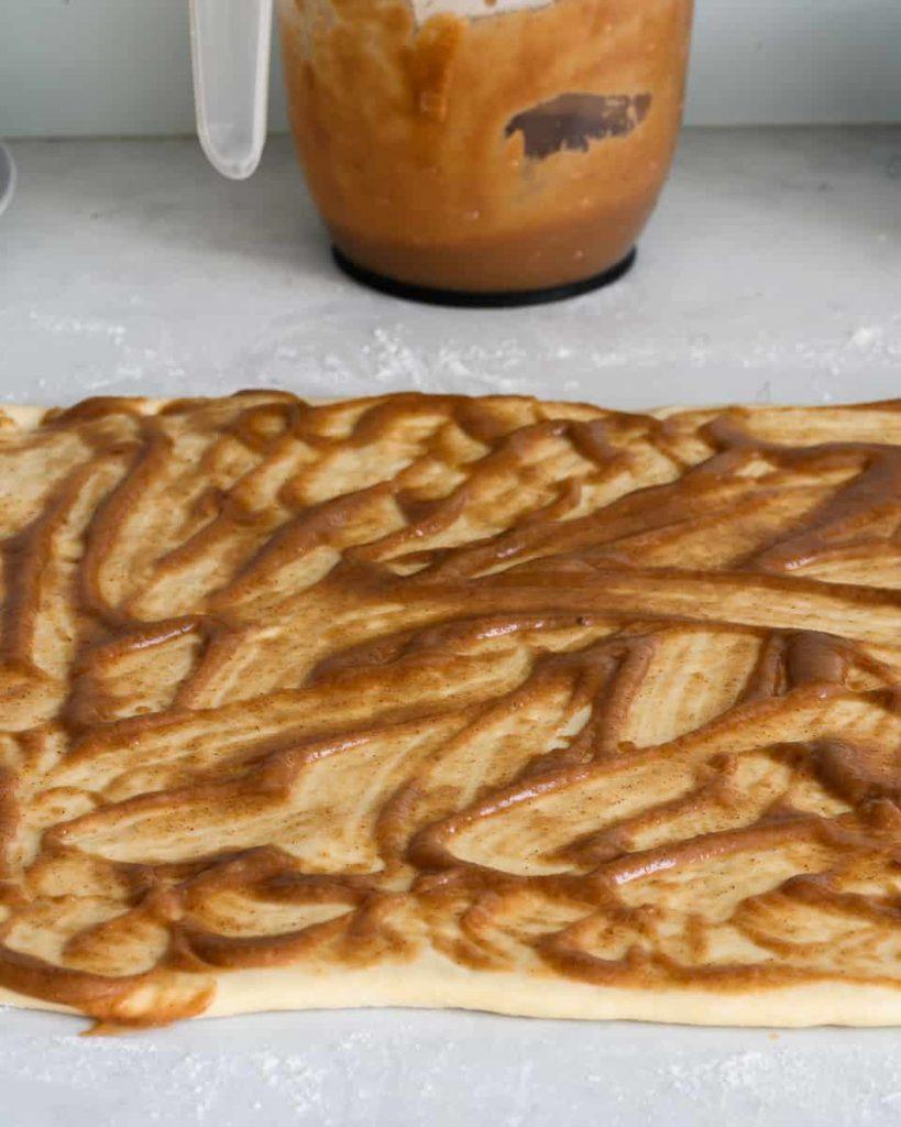 apple butter on vegan roll dough