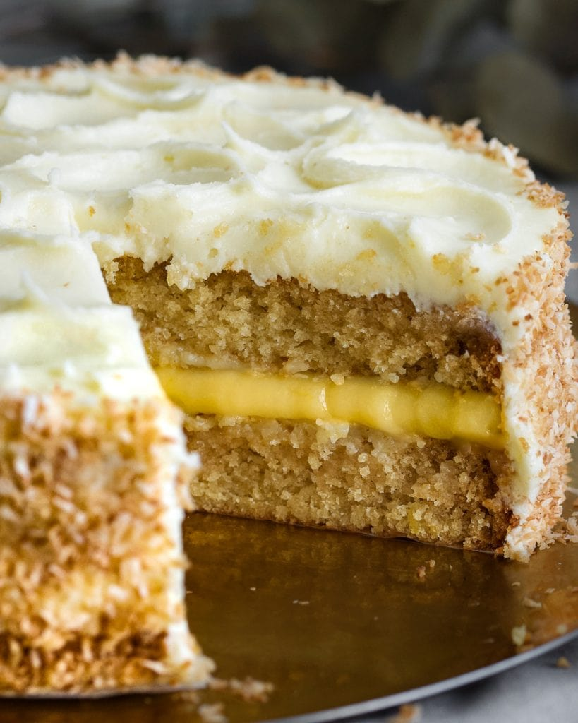 vegan coconut lemon cake