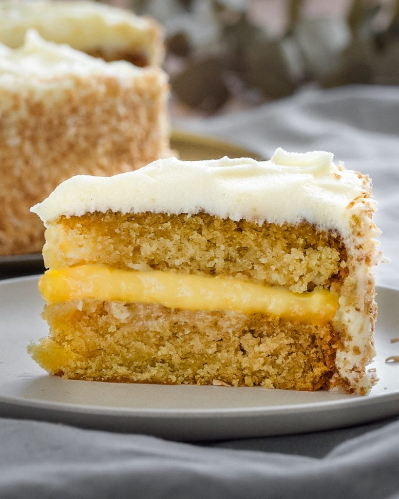 vegan coconut and lemon cake