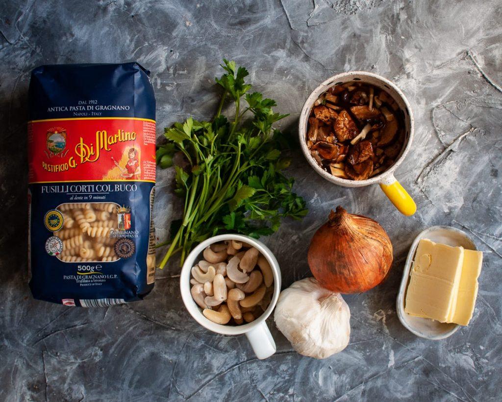 ingredients for vegan wild mushroom fusilli