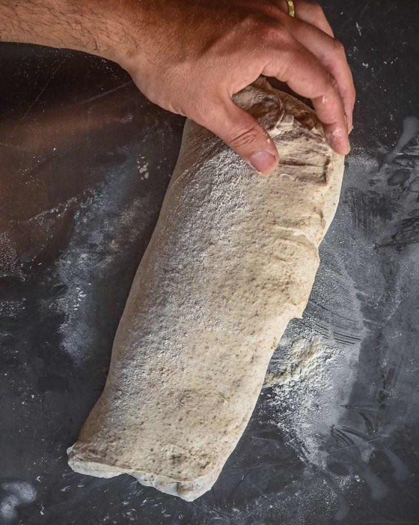 shaping the sourdough