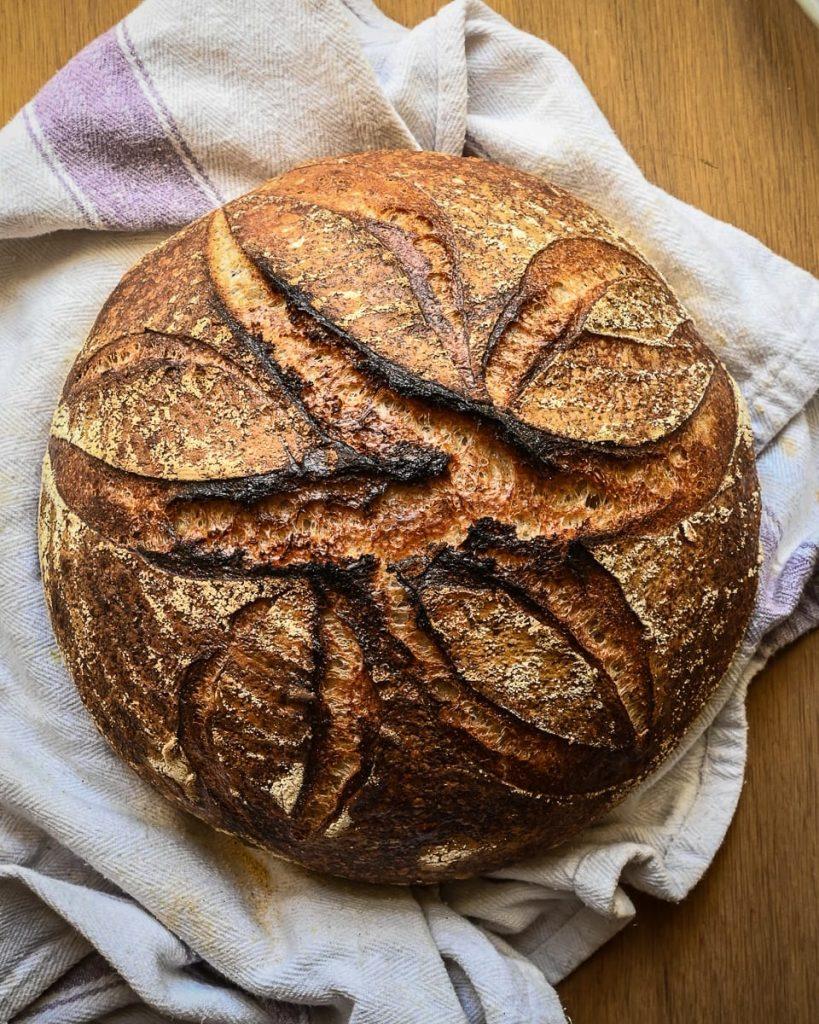 baked sourdough loaf