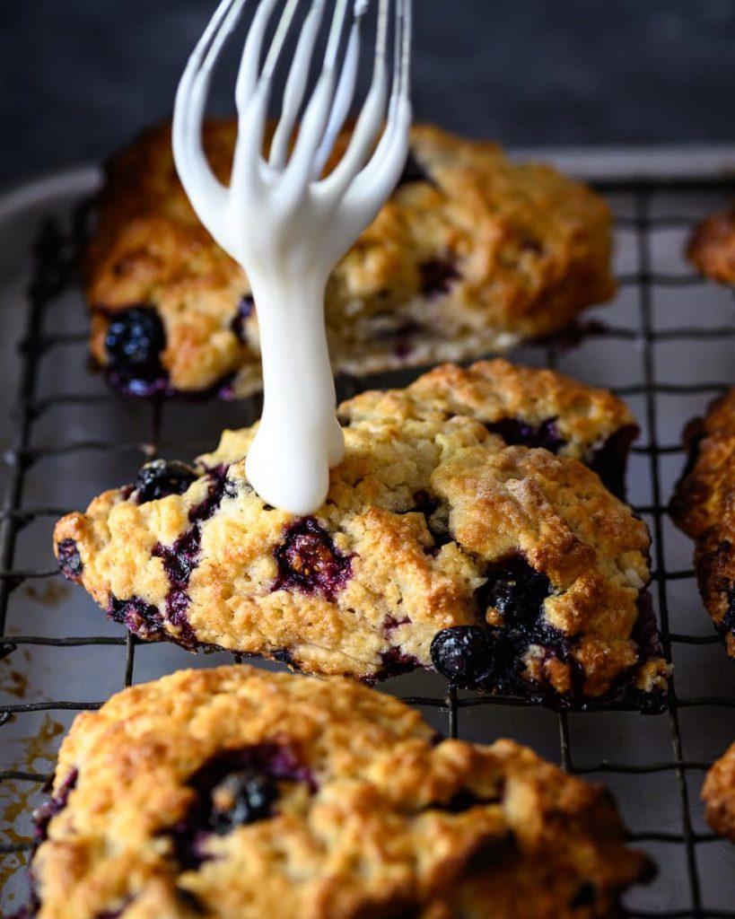 glazed vegan blueberry lemon scones