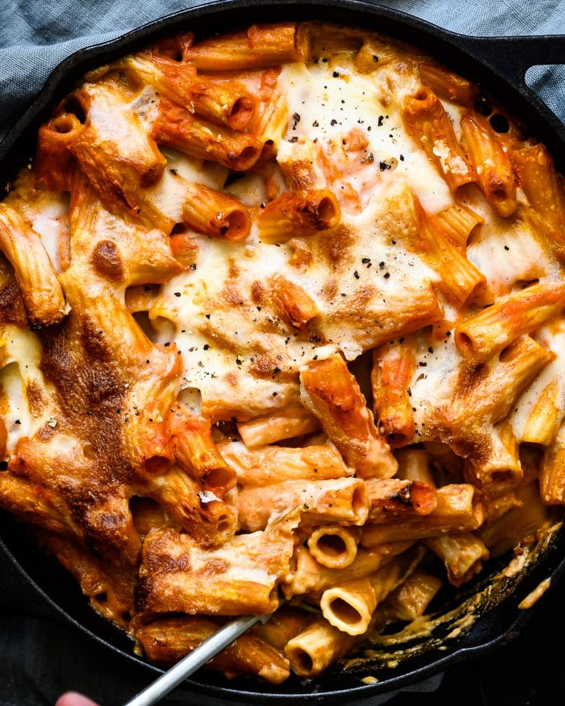 vegan chorizo spiced rigatoni bake