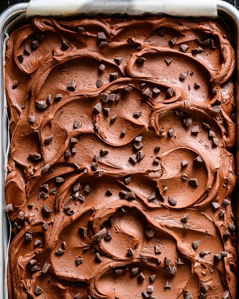 vegan chocolate chip sheet cake