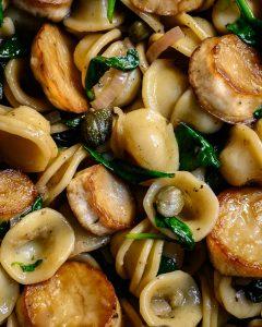 vegan scallop pasta