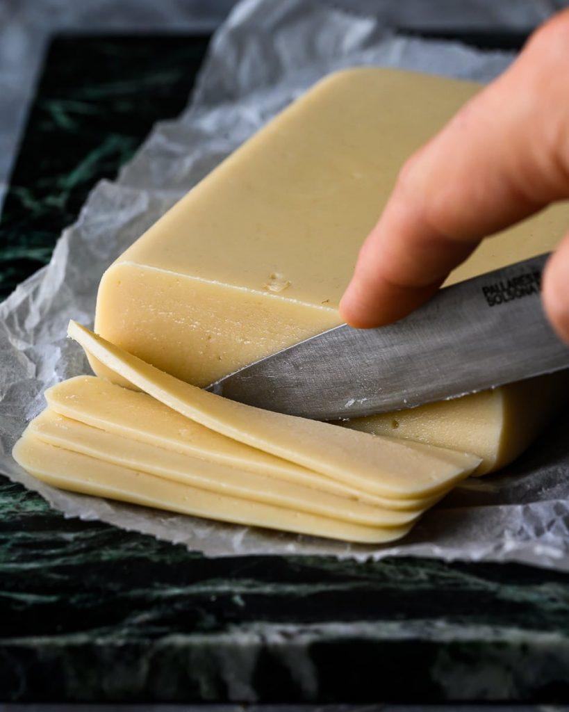 sliced vegan cheese