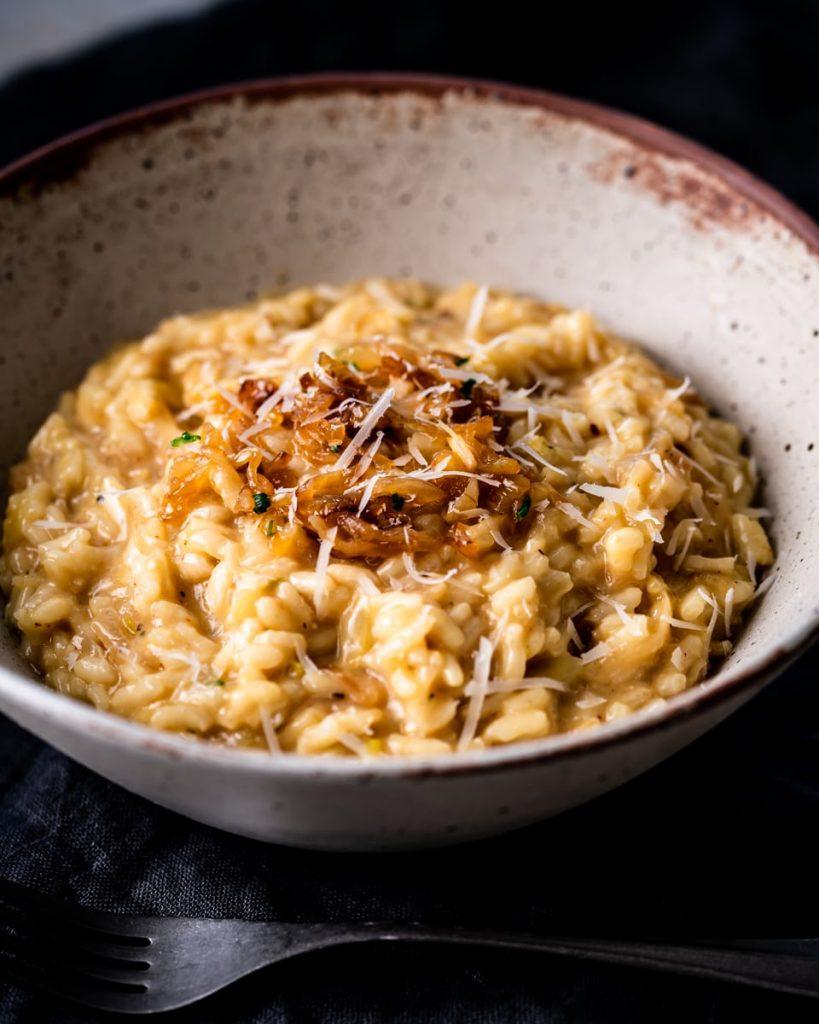 vegan caramelised onion risotto