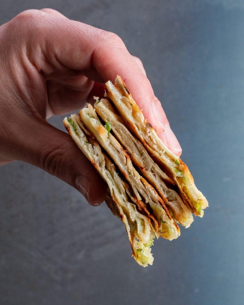 flaky vegan scallion pancakes
